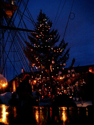 the Christmas tree on Old Ironsides