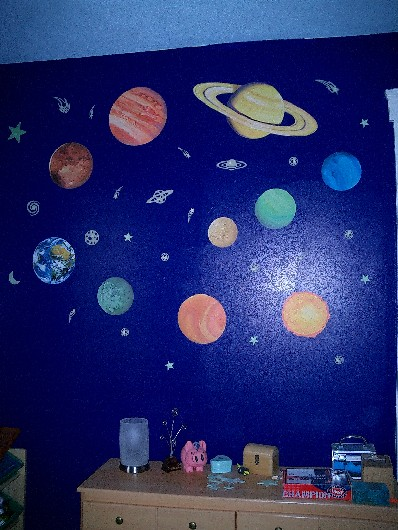 the planets and stars in my kid's room